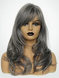 Недорогие -Парики из искусственных волос Естественные кудри Темно-серый Боковая часть Серый Искусственные волосы 20 дюймовый Жен. Модный дизайн / Новое поступление / Природные волосы Темно-серый Парик Длинные