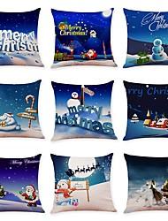 abordables -9 pcs Lin Housse de coussin, Décoration artistique Vacances Noël Noël