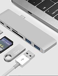 Недорогие -Type-C Адаптер USB-кабеля Все в одном Адаптер Назначение Macbook / MacBook Air / MacBook Pro 0 cm Назначение Алюминий