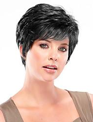 Недорогие -Человеческие волосы без парики Натуральные волосы Прямой Боковая часть Короткие Машинное плетение Парик Жен. / Прямой силуэт