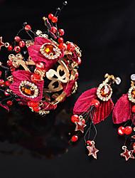 Недорогие -Жен. Красный Старинный Комплект ювелирных изделий Гипсофила Этнический Включают Шпильки для волос Красный Назначение Свадьба Для вечеринок