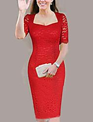 baratos -Mulheres Elegante Tamanhos Grandes Skinny Calças - Sólido Renda Vermelho / Decote Quadrado / Sexy