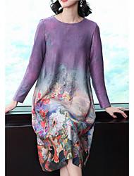 Недорогие -Жен. Большие размеры Классический Хлопок А-силуэт / Оболочка Платье - Цветочный принт / Геометрический принт Средней длины