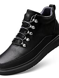 """Недорогие -Муж. Кожаные ботинки Наппа Leather Осень На каждый день / Стиль """"Школьная форма"""" Кеды Массаж Сапоги до середины икры Черный"""