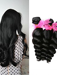 cheap -3 Bundles Brazilian Hair Loose Wave 8A Human Hair Unprocessed Human Hair Headpiece Natural Color Hair Weaves / Hair Bulk Extension 8-28 inch Natural Color Human Hair Weaves Normal Life Thick Human
