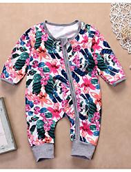 billige -Baby Jente Grunnleggende Daglig Blomstret Langermet Polyester Endelt Rosa