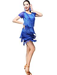 abordables -Danse latine Tenue Femme Utilisation Fibre de Lait Motif / Impression / Gland / Combinaison Manches Courtes Taille basse Jupes / Haut