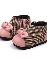 Недорогие -Девочки Обувь Полиуретан Наступила зима Обувь для малышей Ботинки Бант для Дети Черный / Розовый