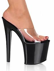 Недорогие -Белый Черный-Для женщин-Свадьба Для вечеринки / ужина Для праздника-ПВХ-На шпилькеОбувь на каблуках