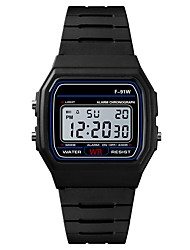 Недорогие -Муж. Спортивные часы электронные часы Японский Цифровой силиконовый Черный / Роуз 30 m Защита от влаги Будильник Календарь Цифровой Мода - Черный Пурпурный / Секундомер / Хронометр / Фосфоресцирующий