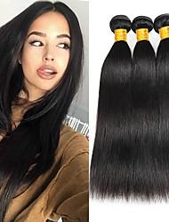 Недорогие -3 Связки Бразильские волосы Евро-Азиатские волосы Прямой 8A Натуральные волосы Необработанные натуральные волосы Подарки Косплей Костюмы Головные уборы 8-28 дюймовый Естественный цвет