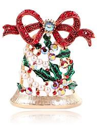 baratos -Mulheres Broches - Imitação de Pérola Boca de Sino Doce Broche Dourado Para Natal