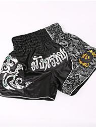 billiga -Muay Thai-shorts / Boxningsshorts Till Kampsport, MMA, Brottning, UFC Elastiskt midjeband Broderi Lättvikt, Snabb tork, Bärbar Polyester Vuxen / Barn - Silver / Brun ANOTHERBOXER