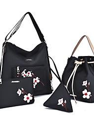 baratos -Mulheres Bolsas Náilon Conjuntos de saco Conjunto de bolsa de 4 pcs Bordado / Ziper Bordado Preto / Vermelho / Roxo