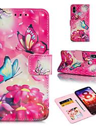 Недорогие -Кейс для Назначение Xiaomi Redmi 6 / Xiaomi Mi Max 3 Кошелек / Бумажник для карт / со стендом Чехол Бабочка / Цветы Твердый Кожа PU для Xiaomi Redmi Note 6 / Xiaomi Pocophone F1 / Redmi 6A