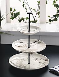 Недорогие -три слоя круглый мраморная вечеринка кондитерская посуда чашки с фруктами тарелка чайный десертный лоток с чаем чая cp0030