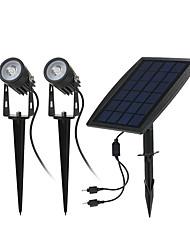 Недорогие -1шт 4 W Свет газонные / Светодиодный уличный фонарь Работает от солнечной энергии / Инфракрасный датчик / Декоративная Тёплый белый 3.7 V Уличное освещение 2 Светодиодные бусины