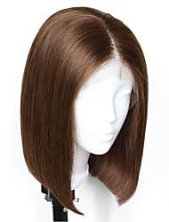 Недорогие -Не подвергавшиеся окрашиванию человеческие волосы Remy Полностью ленточные Парик Стрижка боб Стрижка каскад Kardashian стиль Бразильские волосы Естественный прямой Шелковисто-прямые Темно-коричневый