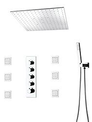 baratos -Moderna Modern Sistema do Chuveiro Chuveiro Tipo Chuva Separada Chuveiro de Mão Incluído LED Válvula Cerâmica Monocomando Quatro Holes