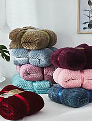 ราคาถูก -ผ้าห่มเตียง, ง่าย / สีทึบ / ลวดลายดอกไม้ / เกี่ยวกับพฤษศาสตร์ 100% ไมโครไฟเบอร์ / ขนแกะ ข้น ผ้าห่ม