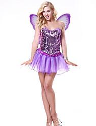 abordables -Elf Carnaval Fée Costume Femme Adulte Paillettes Halloween Halloween Carnaval Mascarade Fête / Célébration Paillette Elasthanne Tenue Violet Paillette
