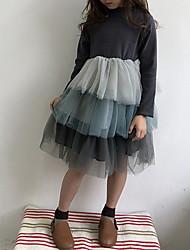 お買い得  -子供 女の子 甘い カラーブロック 長袖 ドレス ブラウン
