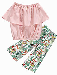 お買い得  -子供 女の子 活発的 / ストリートファッション 日常 / お出かけ フラワー ラッフル / プリント ノースリーブ ショート ポリエステル アンサンブル ピンク