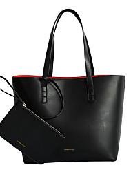 baratos -Mulheres Bolsas PU Conjuntos de saco 2 Pcs Purse Set Com Relevo Côr Sólida Azul / Preto