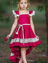 Недорогие -Дети Девочки Уличный стиль Для вечеринок Однотонный Кружева Без рукавов Ассиметричное Полиэстер Платье Красный
