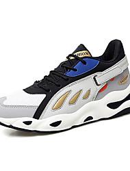 baratos -Homens Sapatos Confortáveis Com Transparência / Microfibra Primavera Verão Esportivo Tênis Corrida Cinzento / Amarelo / Verde