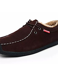 baratos -Homens Sapatos Confortáveis Pele / Couro Ecológico Inverno Casual Oxfords Manter Quente Preto / Azul Escuro / Café