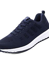 hesapli -Erkek Ayakkabı PU / Elastik Kumaş Bahar Sportif Atletik Ayakkabılar Koşu Atletik için Siyah / Mavi