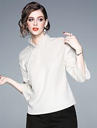 Недорогие -Жен. Рубашка Винтаж / Шинуазери (китайский стиль) Однотонный