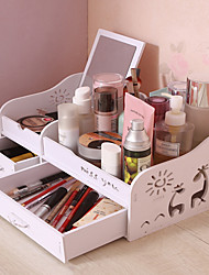billiga -Lagring Organisation Kosmetisk Makeup Organizer PVC skum styrelse Rektangelform Multilayer / Originella / Flip-open Cover