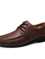 baratos -Homens Sapatos Confortáveis Pele Napa Inverno Clássico / Vintage Tênis Absorção de choque Preto / Castanho Escuro / Festas & Noite