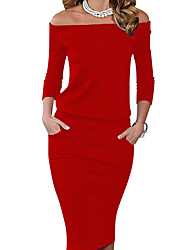 abordables -Femme Epaules Dénudées Soirée / Sortie Mi-long Moulante Robe Couleur Pleine Epaules Dénudées Rouge Eté Bleu Noir Rouge L XL XXL Manches Longues / Mince