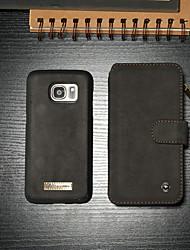 Недорогие -Кейс для Назначение SSamsung Galaxy S7 Кошелек / Бумажник для карт / со стендом Чехол Однотонный Твердый Кожа PU