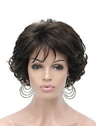 Недорогие -Парики из искусственных волос Жен. Кудрявый Коричневый Стрижка каскад 150% Человека Плотность волос Искусственные волосы 6 дюймовый синтетический Коричневый Парик Короткие Без шапочки-основы