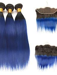 tanie -3 zestawy z zamknięciem Włosy brazylijskie Prosta Włosy naturalne remy Doczepy z naturalnych włosów Taśma włosów z zamknięciem 10-24 in Ludzkie włosy wyplata Modny design Miękka Najwyższa jakość