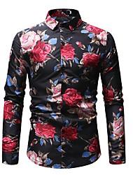 Недорогие -Муж. С принтом Рубашка Хлопок Классический Цветочный принт / Контрастных цветов Белый / Длинный рукав