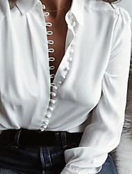 Недорогие -Жен. кнопка Рубашка Хлопок, V-образный вырез Тонкие Классический Однотонный Черный