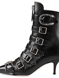 Недорогие -Жен. Наппа Leather Осень Ботинки На шпильке Сапоги до середины икры Черный / Синий