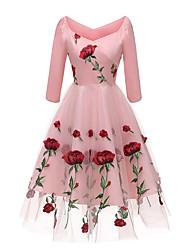 Недорогие -женская вечеринка платье миди слим свинг с плеча розовый белый черный с м л хл