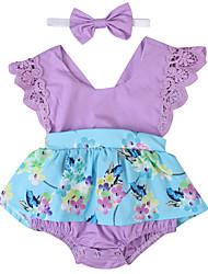 お買い得  -2本 赤ちゃん 女の子 活発的 / ストリートファッション パーティー / 祝日 フラワー / パッチワーク リボン / バックル / パッチワーク ノースリーブ コットン / スパンデックス ワンピース パープル