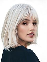 Недорогие -Парики из искусственных волос Естественный прямой Kardashian Стиль Стрижка боб Без шапочки-основы Парик Белый Белый Искусственные волосы 12 дюймовый Жен. / Природные волосы / Природные волосы