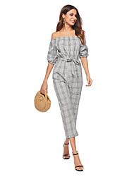 رخيصةأون -أفرول دون الكتف طول الساق شيفون فستان مع شريط و شاح بواسطة