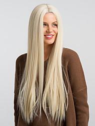 abordables -Pelucas sintéticas / Peluca Lace Front Sintéticas Recto Kardashian Estilo Parte media Sin Tapa Peluca Blanco Marrón / Blanco Pelo sintético 26 pulgada Mujer Cascada / Diseños de Moda / Nueva llegada