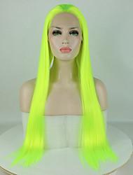Недорогие -Синтетические кружевные передние парики Жен. Прямой Зеленый Свободная часть 180% Человека Плотность волос Искусственные волосы 18-26 дюймовый Регулируется / Кружева / Жаропрочная Зеленый Парик Длинные