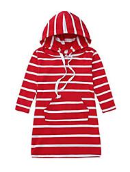 お買い得  -子供 / 幼児 女の子 活発的 / 甘い ストライプ 長袖 ドレス ブラック