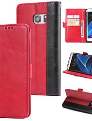 Недорогие -Кейс для Назначение SSamsung Galaxy S7 edge Кошелек / Бумажник для карт / Флип Кейс на заднюю панель Однотонный Твердый Кожа PU